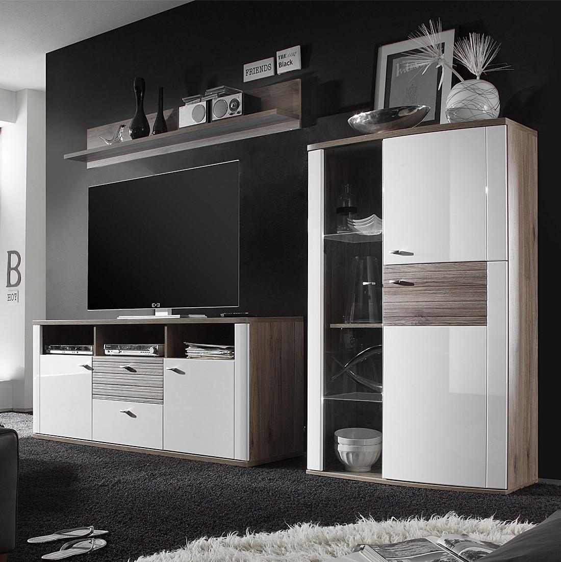 Ensemble de meubles TV Beethoven (3 éléments) - Blanc brillant / Imitation chêne San Remo - Sans éclairage, loftscape