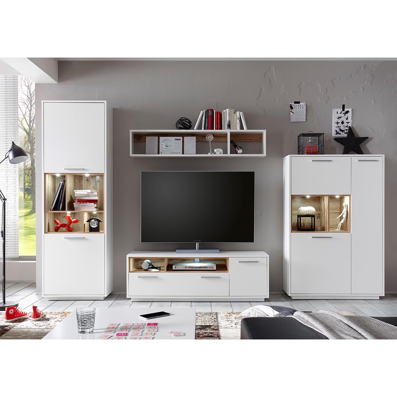 EEK A+, Ensemble de meubles TV Guardo (4 éléments) - Avec éclairage - Blanc / Imitation chêne sauvage, Fredriks