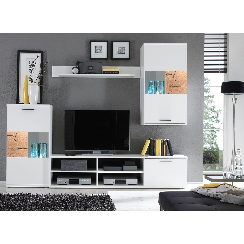 EEK A+, Ensemble de meubles TV Hosby (4 éléments) - Avec éclairage - Blanc / Imitation chêne, mooved