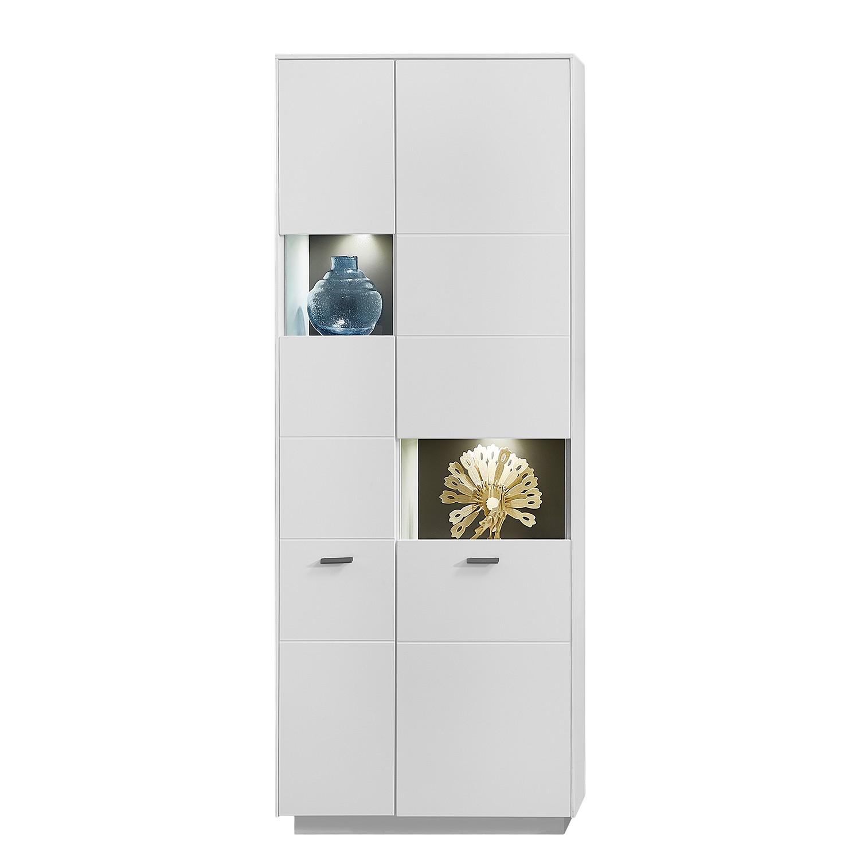 EEK A+, Armoire vitrine Kesh (avec éclairage) - Blanc mat / Anthracite mat, loftscape