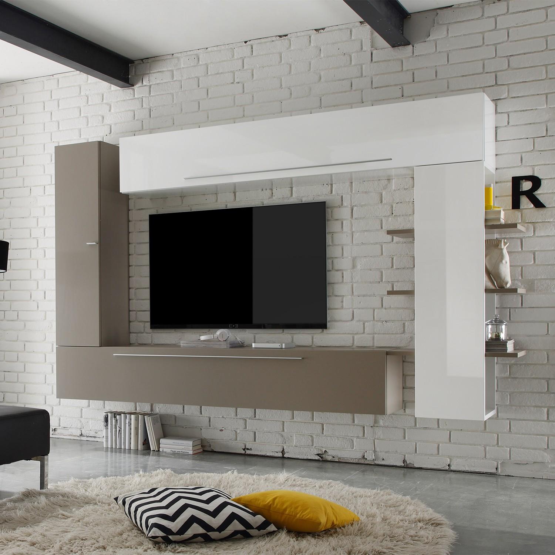 home24 Wohnwand Line LC I (4-teilig) | Wohnzimmer > Schränke > Wohnwände | Beige | Holzwerkstoff | LC Mobili