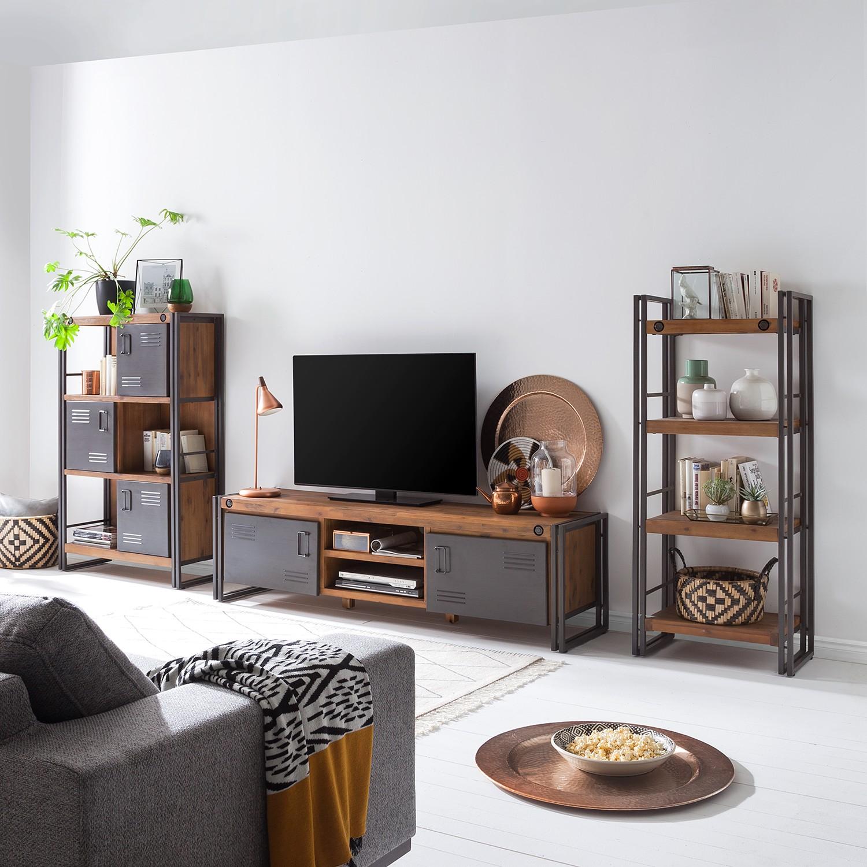 home24 Wohnwand Manchester I (3-teilig) | Wohnzimmer > Schränke > Wohnwände | Braun | Holz - Teilmassiv | ars manufacti