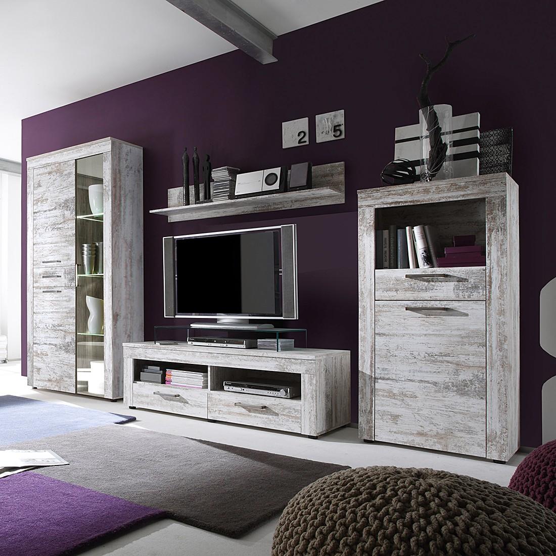EEK A+, Ensemble de meubles TV Gola - Avec éclairage - Blanchi à la chaux, Trendteam
