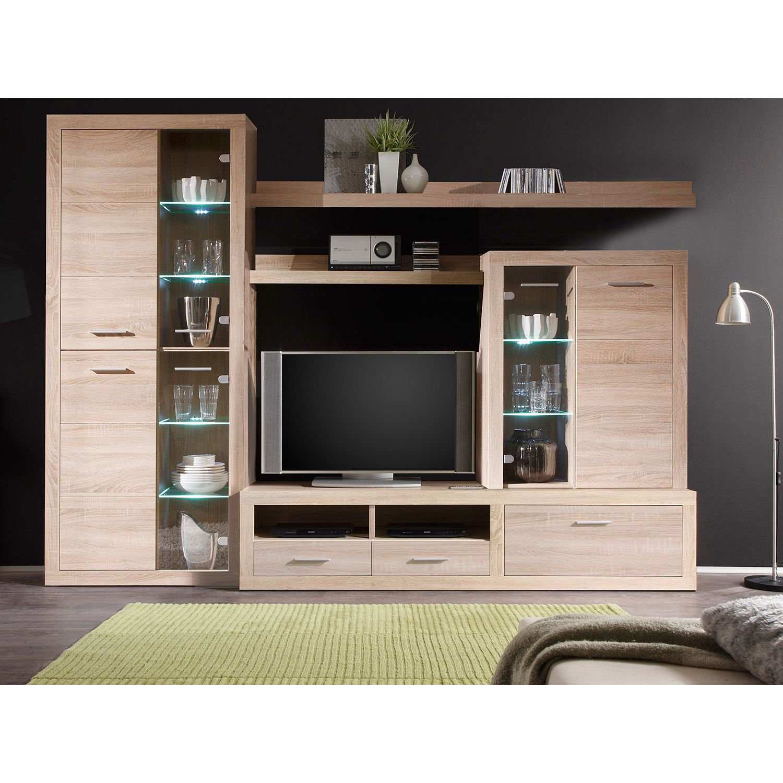 EEK A+, Ensemble de meubles TV Rindby (5 éléments) - Avec éclairage - Imitation chêne Sonoma, Fredriks