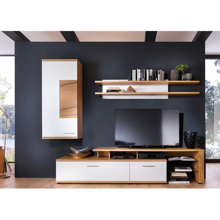 home24 Wohnwand Serrata III (4-teilig) | Wohnzimmer > Schränke > Wohnwände | Beige | Holzwerkstoff | Fredriks