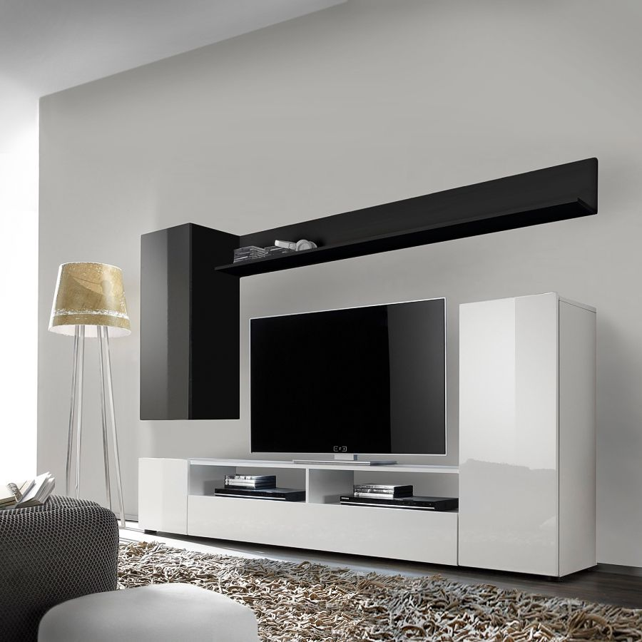 wohnwand schwarz weiss preisvergleich die besten angebote online kaufen. Black Bedroom Furniture Sets. Home Design Ideas