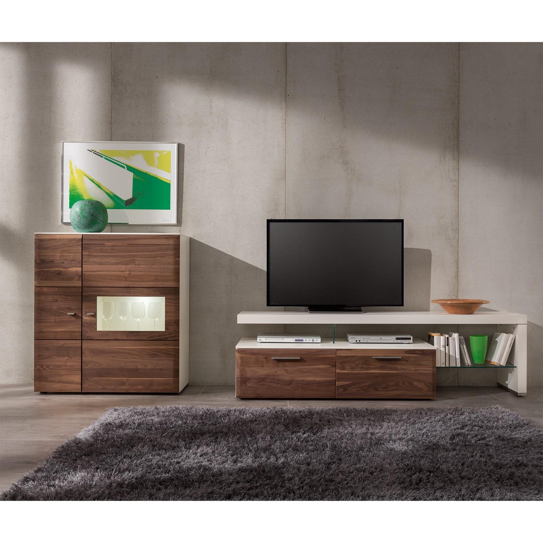wohnwand nussbaum weiss machen sie den preisvergleich. Black Bedroom Furniture Sets. Home Design Ideas