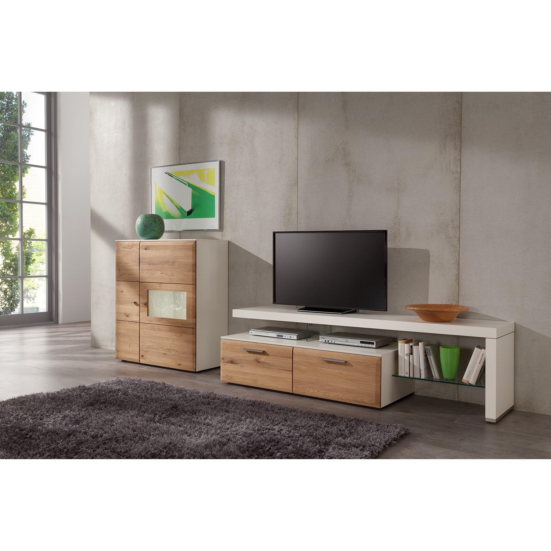 Ensemble de meubles TV Solano (3 éléments) - Partiellement en bois massif - Vitrine gauche - Sans éclairage - Chêne noueux / Blanc, Netfurn by GWINNER