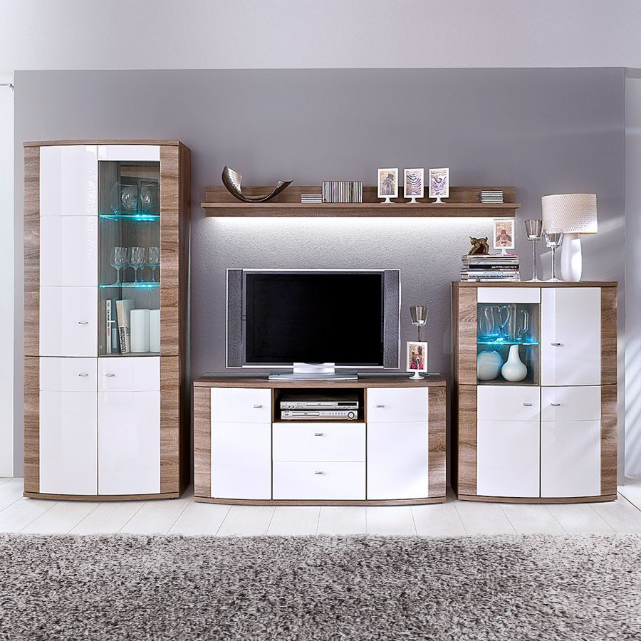 EEK A+, Ensemble de meubles TV Sunja (4 éléments) - Blanc brillant / imitation chêne truffier - Avec éclairage, Bellinzona