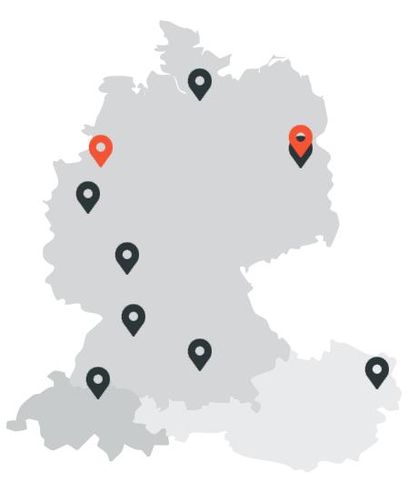 Karte mit den Standorten aller Showrooms